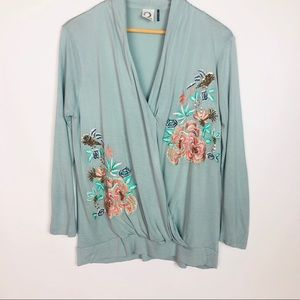 Akemi + Kin • Blue Floral Embroidered Wrap Top